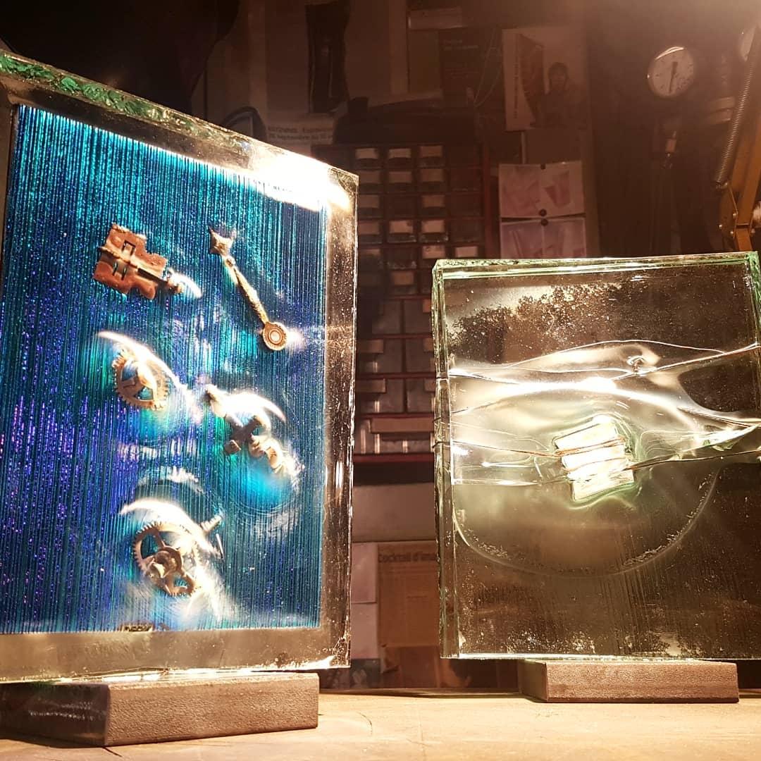 Sculpture métal et verre acier et verre paul estier artiste 2018 lausanne genève neuchatel yverdon (11)