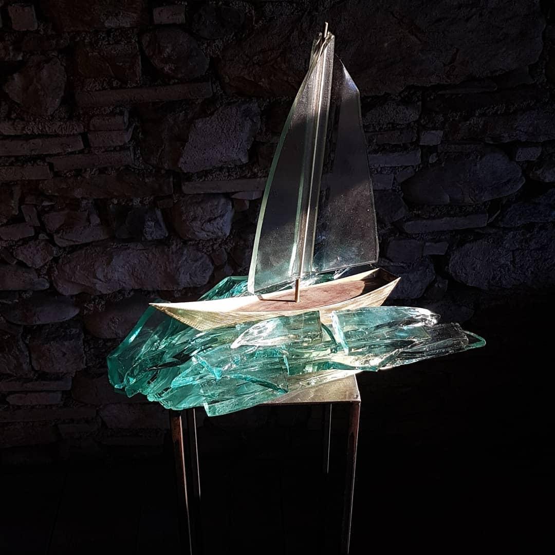 Sculpture métal et verre acier et verre paul estier artiste 2018 lausanne genève neuchatel yverdon (20)