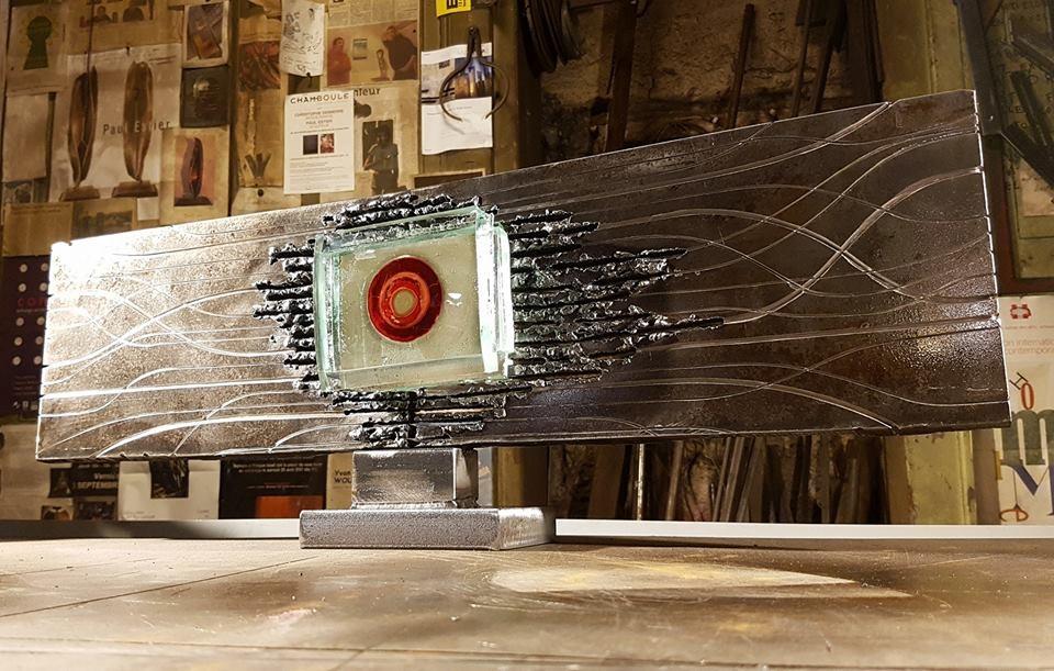 Sculpture métallique et verre Paul Estier Suisse Art Exposition (4)