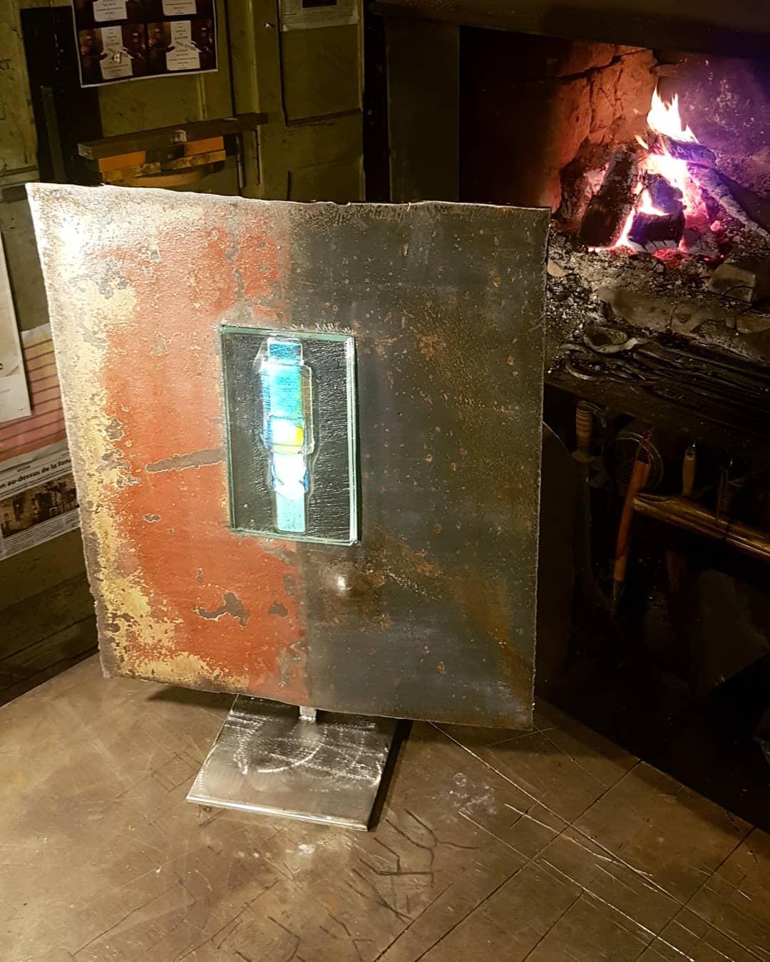 Sculpture acier et verre métal et verre paul estier artiste genève lausanne neuchatel yverdon (17)