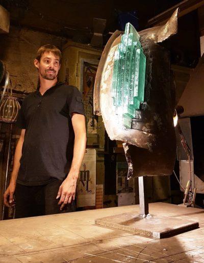 Sculpture acier verre suisse art Paul Estier exposition photo (3)