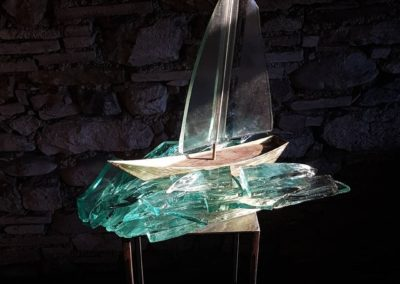 Sculpture acier verre suisse art Paul Estier exposition photo (9)