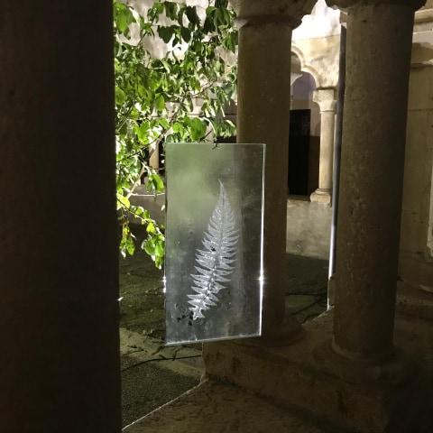 Sculpture verre_inclusion fougère_Paul Estier